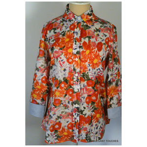 Bright Pink Orange Floral Button-down Shirt SMALL